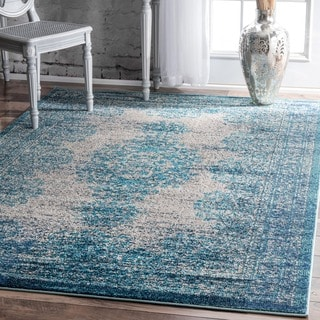 nuLOOM Transitional Vintage Abstract Blue Rug (7'10 x 11')