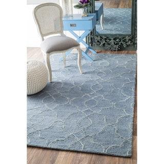 nuLOOM Handmade Contemporary Wool/ Viscose Grey Rug (8'6 x 11'6)