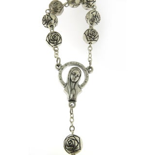 Handcrafted Pewter Our Lady of Guadalupe Castillian Roses Rosary Necklace (Italy)