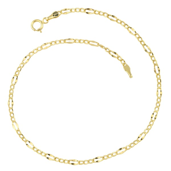 Fremada 10k Yellow Gold High Polish Lite Flat Figaro Anklet (9 inches)