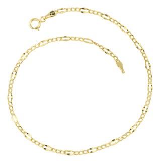 Fremada 10k Yellow Gold High Polish Lite Flat Figaro Anklet (9 inches)