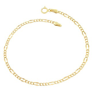 Fremada 10k Yellow Gold 2.4-mm High Polish Lite Flat Figaro Link Bracelet (7.5 inches)