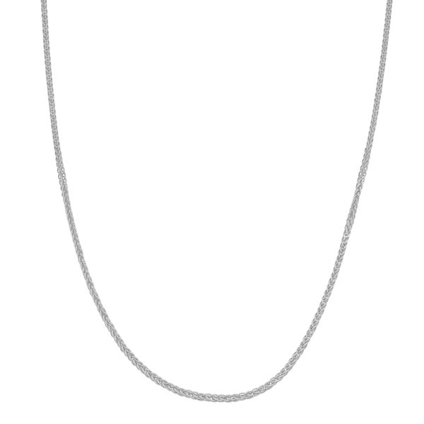 Fremada 10k White Gold 1-mm Adjustable Wheat Chain Necklace (22 inches)