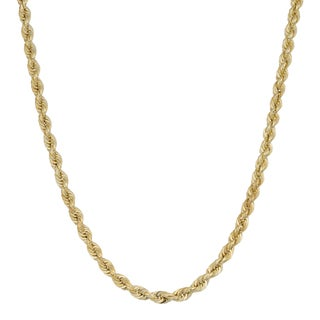 Fremada 10k Yellow Gold 3-mm Rope Chain Necklace (18 inches)