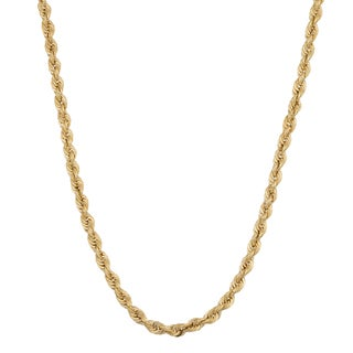 Fremada 14k Yellow Gold 2.3-mm Rope Chain Necklace (18 - 30 inches)
