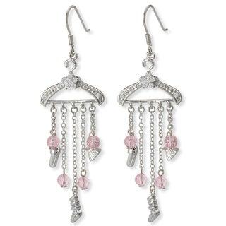 Avanti Sterling Silver Pink Cubic Zirconia Hanger Drop Earrings