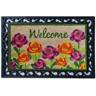 Roses Coco Rubber Welcome Mat (24 x 36)