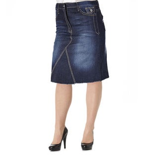 Tabeez Women's Plus Size Washed Denim Skirt