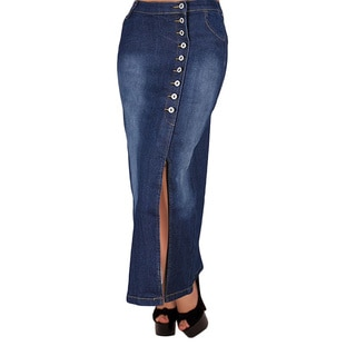 Tabeez Women's Straight Washed Denim Long Skirt