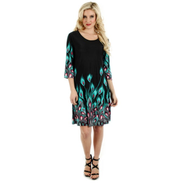 Firmiana Women's Black and Teal Peacock Feather Print Dress
