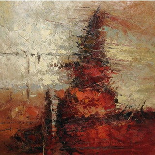 'Red Mountain' Contemporary Oil Painting (24 x 24)