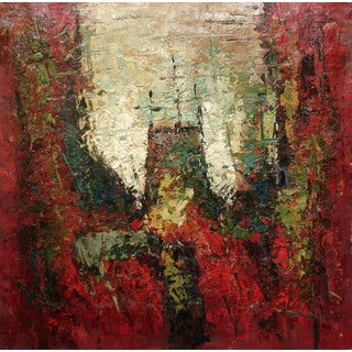 'Sinking Root' Contemporary Canvas-wrapped Oil Painting (24 x 24 inches)