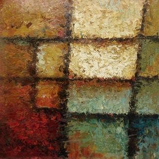 'Color Boxes' Contemporary Canvas-wrapped Oil Painting (24 x 24 inches)