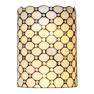 Amora Lighting Tiffany Style Double-light Jeweled Wall Lamp
