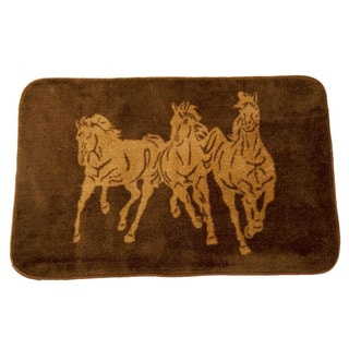 HiEnd Accents Three Horse Dark Bathroom/Kitchen 24x36 Rug