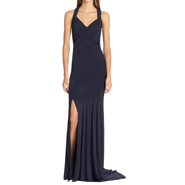 Donna Karan Criss-cross Sleeveless Jersey Evening Dress