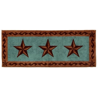 HiEnd Accents Star Print Turquoise 24x60 Acrylic Rug
