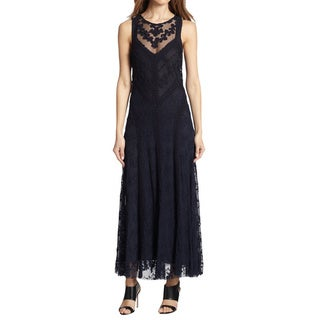 Nanette Lepore Black Embroidered Sheer Sleeveless Evening Dress