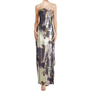 Josie Natori Anzu Abstract Metallic Sequined Strapless Formal Dress