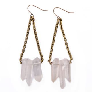White Quartz Stone Earrings on Antique Gold Chains (China)
