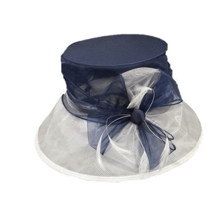 Women's Navy and White Organza Fabric Packable Hat