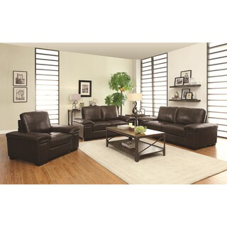 Shoreline Chocolate Italian Leather Sofa Loveseat And