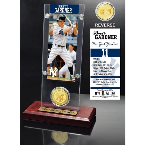 Brett Gardner Ticket and Bronze Coin Acrylic Desk Top