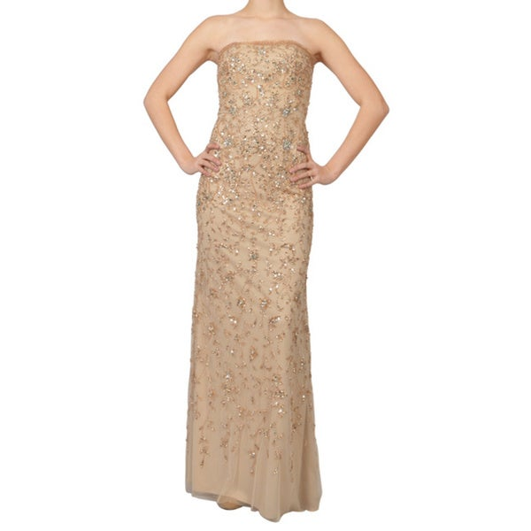 Basix Elegant Strapless Beaded Sheath Evening Dress