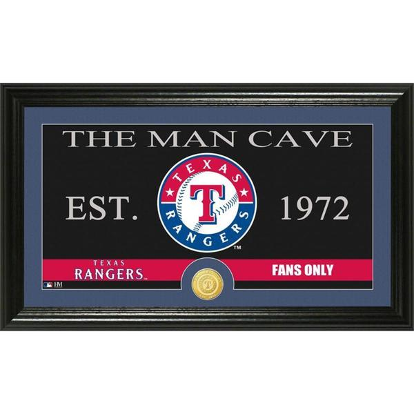 Texas Rangers The Man Cave Bronze Coin Panoramic Photo Mint