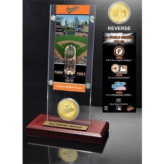 Baltimore Orioles World Series Ticket and Bronze Coin Acrylic Desktop