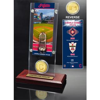 Cleveland Indians World Series Ticket and Bronze Coin Acrylic Desktop