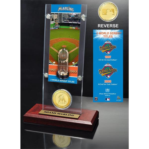 Miami Marlins World Series Ticket and Bronze Coin Acrylic Desktop