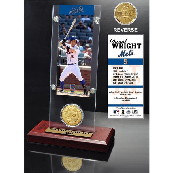 David Wright Ticket and Bronze Coin Acrylic Desk Top