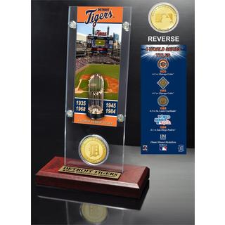 Detroit Tigers World Series Ticket and Bronze Coin Acrylic Desk Top