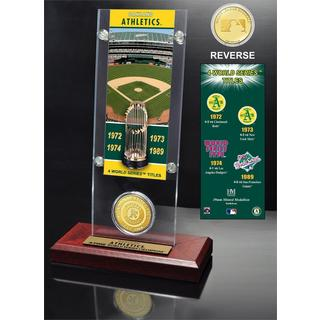 Oakland Athletics World Series Ticket and Bronze Coin Acrylic Desk Top
