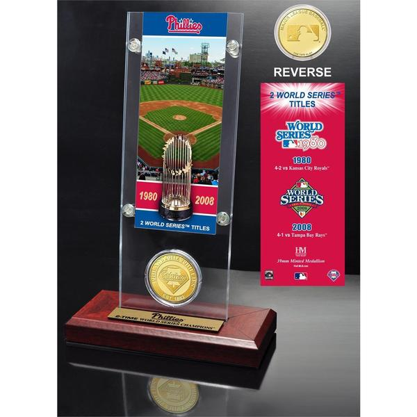 Philadelphia Phillies World Series Ticket and Bronze Coin Acrylic Desk Top