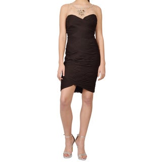 Adrianna Papell Brown Illusion Bodice Ruched Jersey Sheath Cocktail Dress