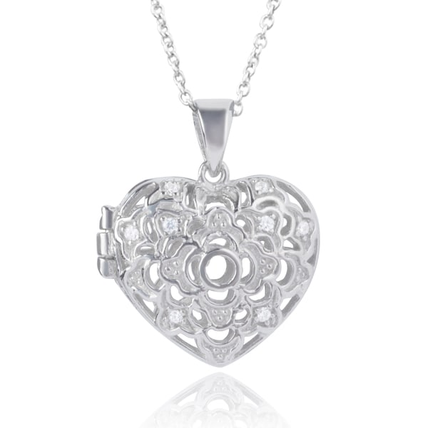 Journee Collection Sterling Silver Heart Locket Necklace