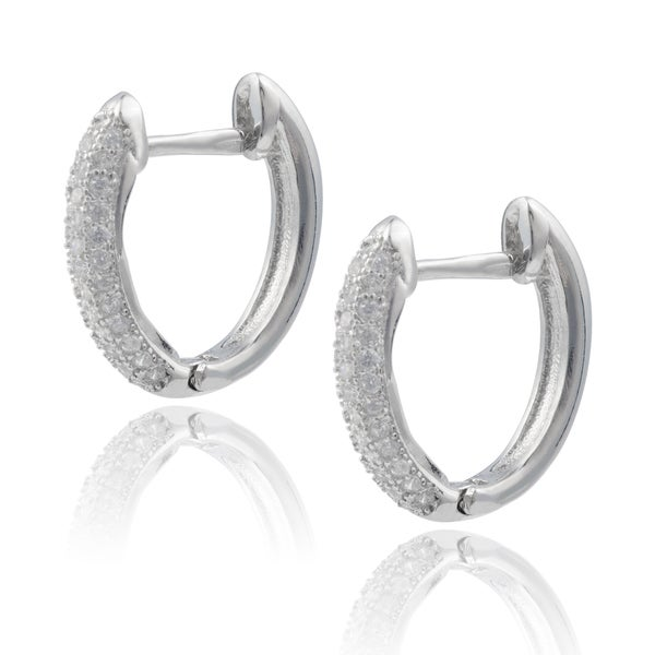 Journee Collection Sterling Silver Cubic Zirconia Bar Hoop Earrings