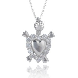 Journee Collection Sterling Silver Cubic Zirconia Heart Turtle Pendant