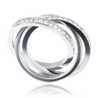 Journee Collection Sterling Silver Cubic Zirconia 3 Interconnected 3mm Bands