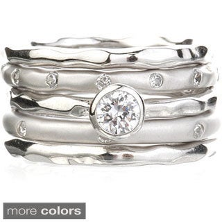 Sterling Silver or 14K Gold over Silver Cubic Zirconia 5-Piece Ring Set