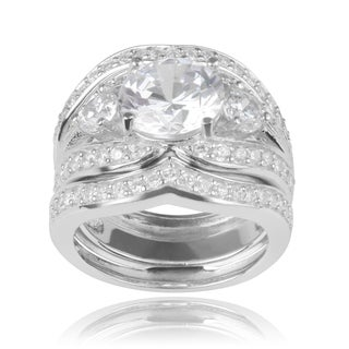 Journee Collection Sterling Silver Cubic Zirconia Engagement Set