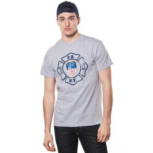 FDNY Men's Grey Emblem Print T-shirt