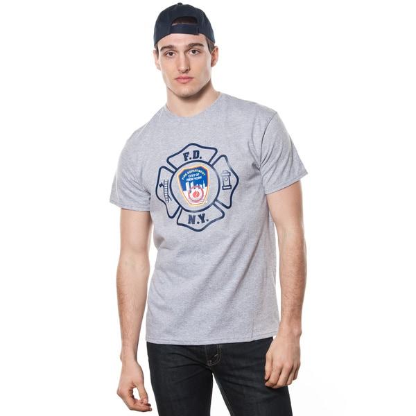 FDNY Men's Grey Emblem Print T-shirt