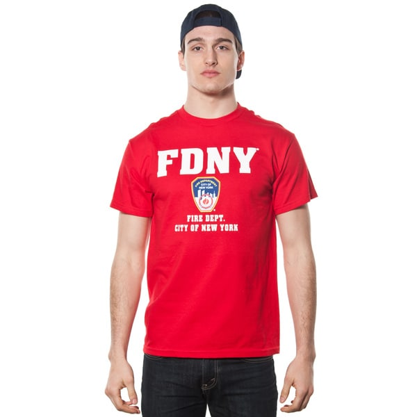 FDNY Men's Red Emblem Logo Print T-Shirt