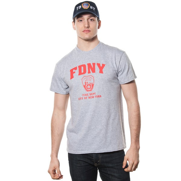 Men's FDNY Grey/ Red Print Cotton T-shirt