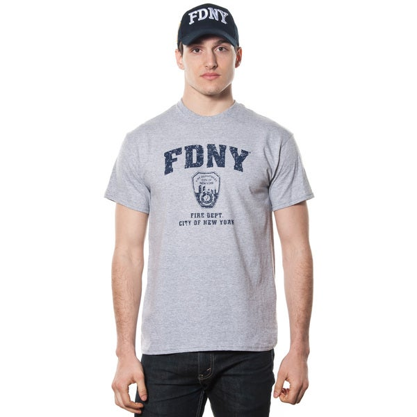 FDNY Men's Grey and Navy Graphic T-shirt
