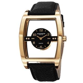 Akribos XXIV Men's Swiss Quartz Transparent Sunray Dial Leather Strap Watch