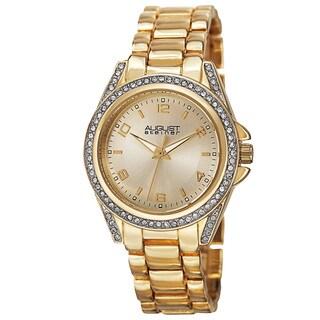 August Steiner Women's Japanese Quartz Crystal-Accented Bezel Bracelet Watch